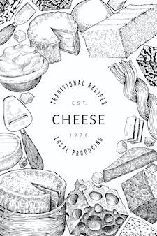 Projeto de queijo. mão-extraídas ilustração de laticínios.