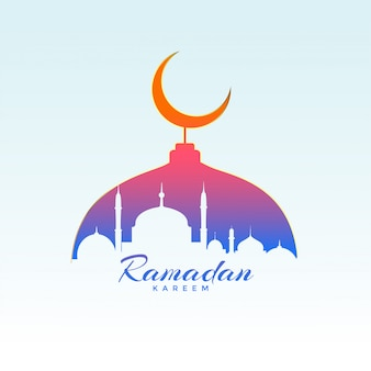 Projeto de ramadan kareem com silhueta de mesquita