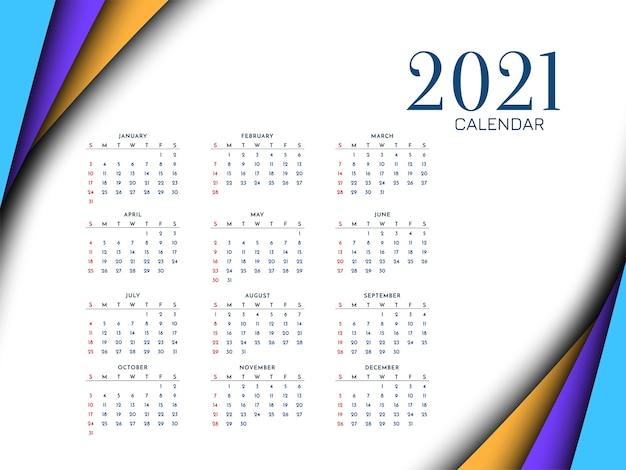 Projeto de recorte de papel colorido do calendário de ano novo de 2021
