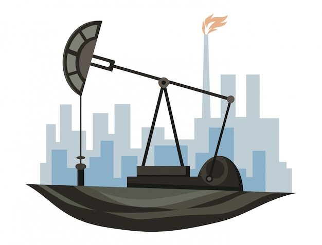 Projeto de recursos naturais. ilustração do óleo do tesouro nacional. ilustração da indústria de petróleo