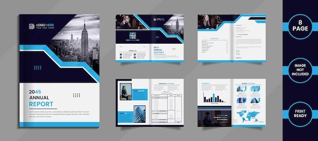 Projeto de relatório anual moderno com formas criativas de cores profundas e azul-celeste em um fundo branco.