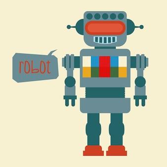 Projeto de robô sobre ilustração vetorial de fundo bege