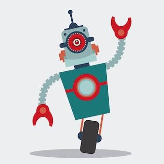 Projeto de robô sobre ilustração vetorial de fundo branco