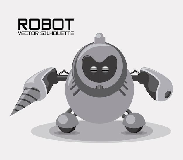 Projeto de robô sobre ilustração vetorial de fundo cinza