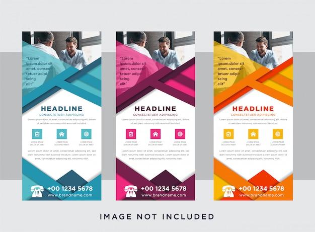 Projeto de roll-up banner horizontal, conceito do negócio. modelo gráfico para exposições para seminário, layout para colocação de foto. suporte universal para conferência, abstrato geométrico.