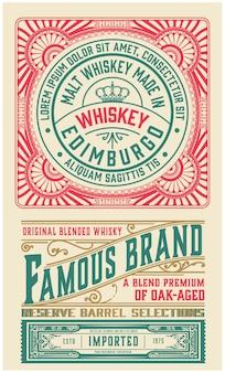 Projeto de rótulo ornamentado antigo para whisky.