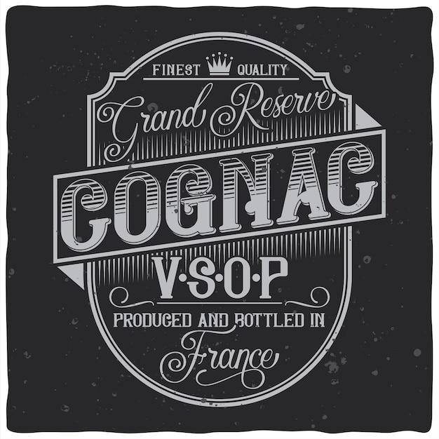 Projeto de rótulo vintage com composição de letras no escuro