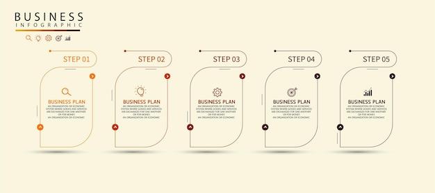 Projeto de seta infográfico com 5 opções ou etapas de infográficos para ideias de negócios. pode ser usado para apresentação, educação, banners de negócios.