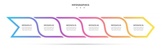 Projeto de seta infográfico com 6 opções ou etapas. infografia para o conceito de negócio.