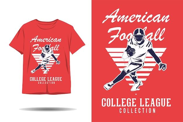 Projeto de silhueta de camisetas da liga universitária de futebol americano