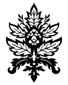 Projeto de silhueta decorativa floral de damasco, botânica vintage com folhas e folhagens, flores e flor. motivos antigos ou barrocos, arabesco e tradição da arte marroquina. vetor em estilo simples