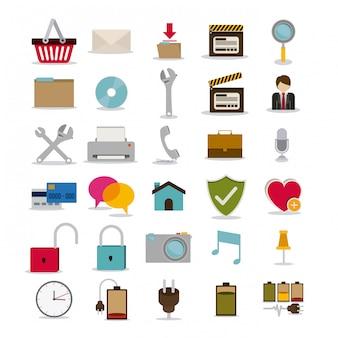 Projeto de símbolos sobre ilustração branca