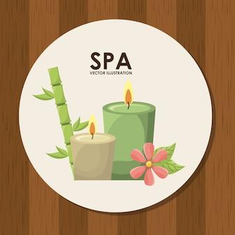 Projeto de spa sobre ilustração vetorial de fundo de madeira