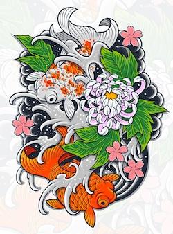 Projeto de tatuagem de peixe japonês