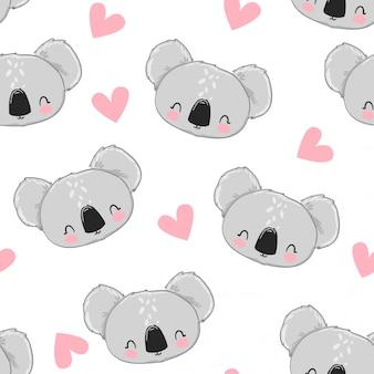Projeto de tecido ilustração estoque sem costura padrão koala bonito.