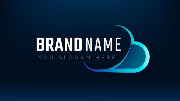 Projeto de tecnologia de slogan editável de nuvem gradiente