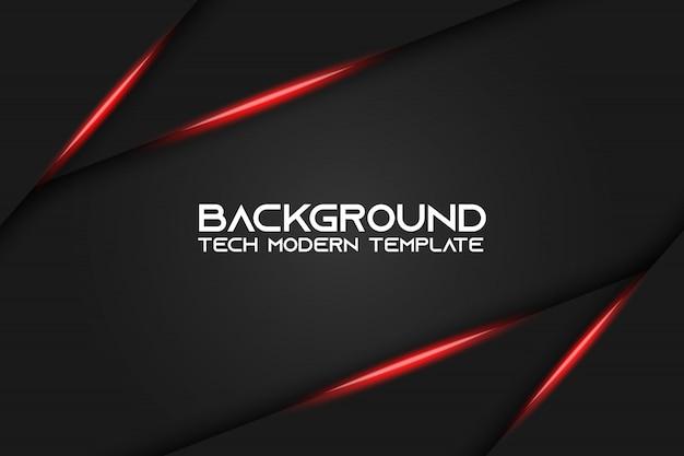 Projeto de tecnologia moderna de layout abstrato vermelho fundo preto metálico