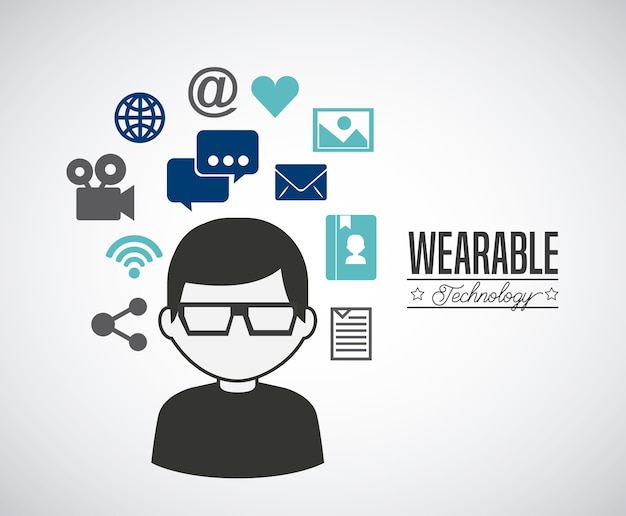 Projeto de tecnologia wearable, ilustração vetorial eps10 gráfico