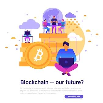 Projeto de tecnologias modernas com ilustração em vetor plana blockchain e símbolos do futuro