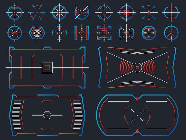 Projeto de tela virtual hightech futurista. painel de hud de sistemas de computador com o conjunto de vetor de quadros de objetivo de rastreamento