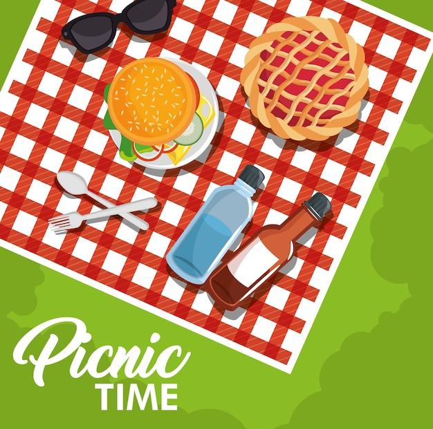 Projeto de tempo de piquenique com cobertor de padrão de guingão vermelho e comida