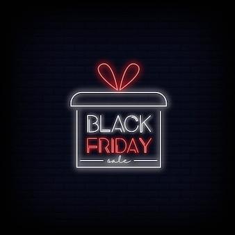 Projeto de texto de néon de venda de sexta-feira negra. logotipo de néon de venda de sexta-feira negra