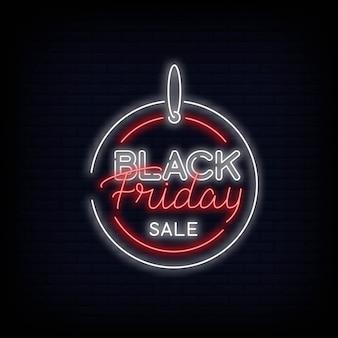 Projeto de texto de néon de venda de sexta-feira negra