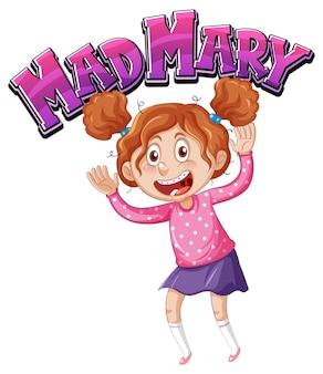 Projeto de texto do logotipo de mad mary com personagem de desenho animado de uma menina