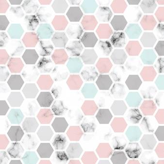 Projeto de textura de mármore de vetor com padrão de favo de mel, superfície de mármore preto e branco