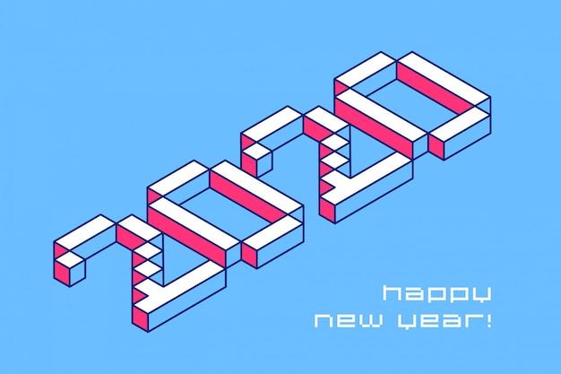 Projeto de tipografia de feliz ano novo de 2020. números de pixel de vetor em perspectiva