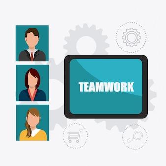 Projeto de trabalho em equipe de negócios.