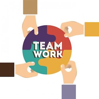 Projeto de trabalho em equipe, ilustração vetorial.