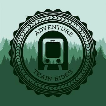 Projeto de trem sobre ilustração vetorial de fundo verde