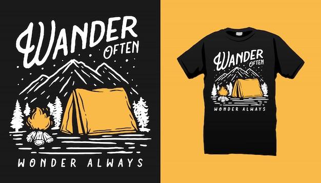 Projeto de tshirt de acampamento da montanha