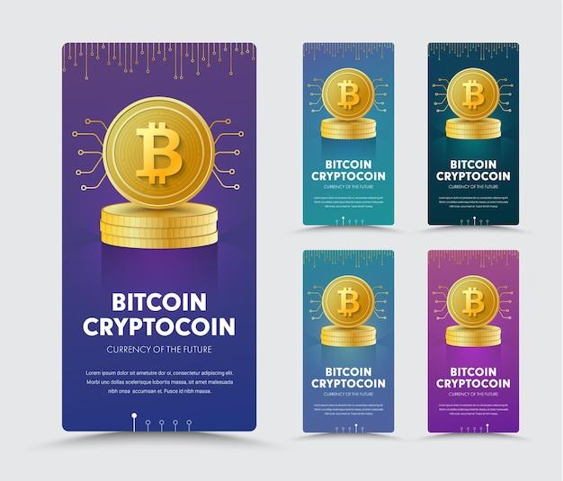 Projeto de um banner vertical da web com uma moeda de ouro de cripto moeda bitcoin em uma pilha.