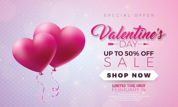 Projeto de venda de dia dos namorados com balão de coração vermelho no fundo rosa. oferta especial