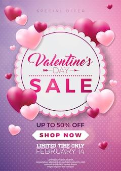 Projeto de venda de dia dos namorados com balão de coração vermelho no fundo rosa.