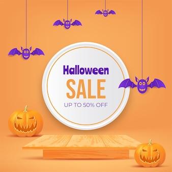 Projeto de venda de halloween 3d com mesa de madeira de abóbora conceito de festa de halloween para promoção