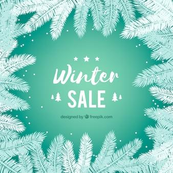 Projeto de venda de inverno com galhos de abeto