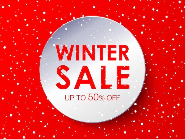 Projeto de venda de inverno no fundo do círculo branco em estilo de jornal. ilustração vetorial com flocos de neve