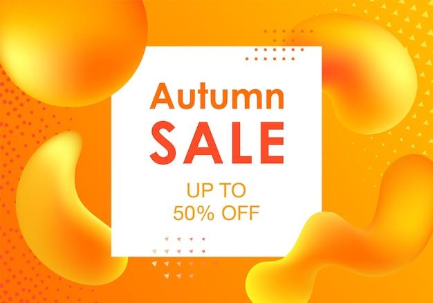 Projeto de venda de outono com formas gradientes coloridas. ilustração vetorial moderna para a temporada outonal. cartazes de design futurista