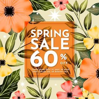 Projeto de venda de primavera em aquarela