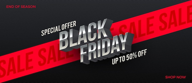 Projeto de venda de sexta-feira negra letras 3d metálicas em um fundo preto listrado com fita vermelha