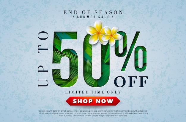 Projeto de venda de verão com flor e folhas de palmeira tropical