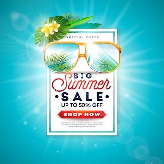 Projeto de venda de verão com folhas de palmeira exóticas em óculos de sol