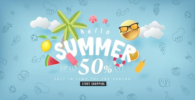 Projeto de venda de verão com papel cortado fundo de elementos de verão. modelo de ilustração.