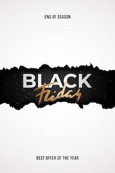 Projeto de venda do conceito black friday com efeito de papel rasgado.
