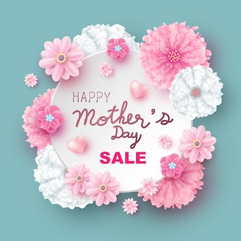 Projeto de venda do dia das mães de ilustração vetorial de flores