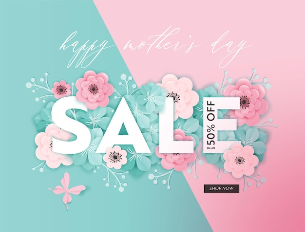 Projeto de venda do dia das mães. primavera promo desconto modelo de banner com flores de corte de papel para panfleto, cartaz, voucher de publicidade. ilustração vetorial