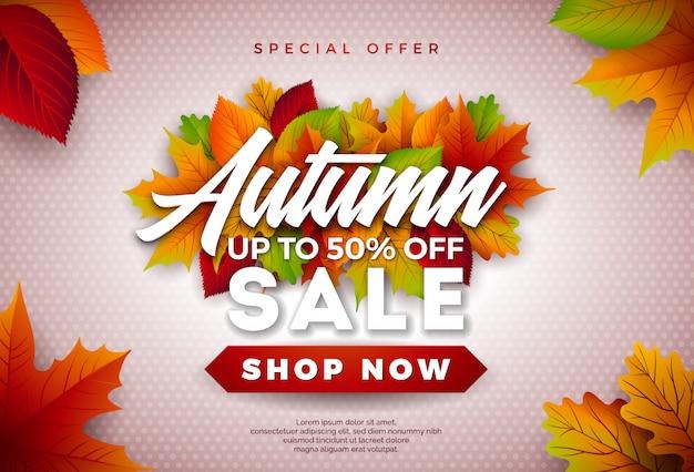Projeto de venda outono com folhas caindo e letras
